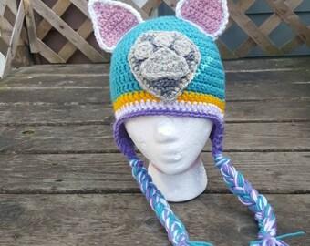 Paw patrol inspired hat, crochet hat, everest paw patrol hat, teal paw patrol hat, teal puppy hat, ears hat, everest hat, paw patrol