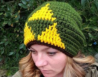 Tri-force hat, zelda hat, green winter hat, adults tri-force hat, green and yellow hat, green beanie, adults zelda beanie