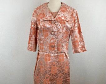 Handmade Short Brocade Kaftan Dress Womens Blouse Pattern Brocade Peach Beach Cover Up Kaftan Brocade morocco kaftan dress Brocade Dress