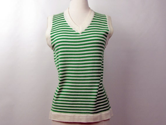 Vintage 70s Catalina Green Striped Sweater Vest |