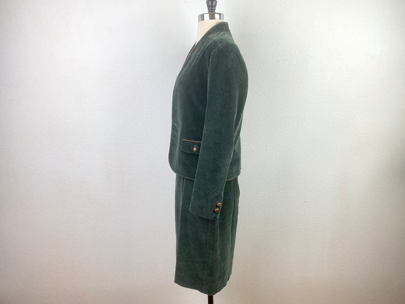 Cotton Two-Piece Suit Sasson Dark Green Corduroy Jacket and Skirt Open Front Crop Jacket A-Line Skirt Size 89 SM Pockets