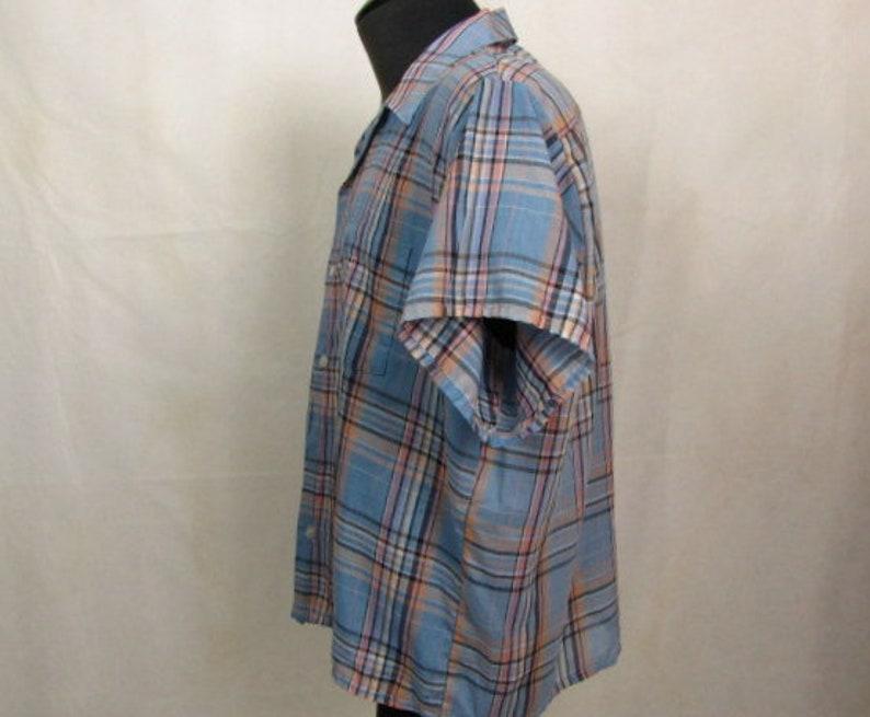 Vintage ~ Men/'s Shirt ~ 1970s ~ Blue Plaid ~ Golden Key ~ Square Bottom ~ Double Pockets ~ XL ~ PolyCotton ~ Permanent Press