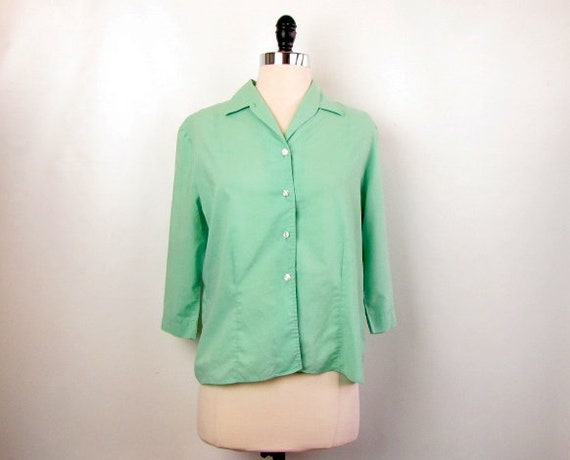Vintage Ship 'N Shore Mint Green Button Front Blou