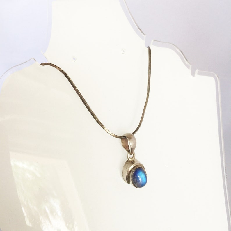 7da796dcb66 Vintage bleu pendentif collier fantaisie collier en argent