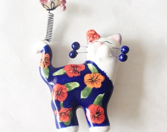 Amy Lacombe cat brooch ceramic cat brooch figurine cat brooch hand painted cat pin