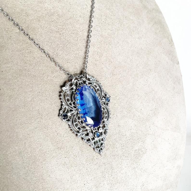 Antique Art Deco Filigree blue Glass Necklace Rhodium plated filigree delicate necklace