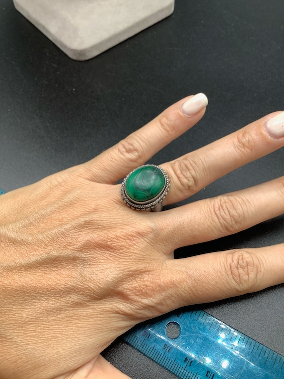 Ring 925 sterling silver malachite green stone