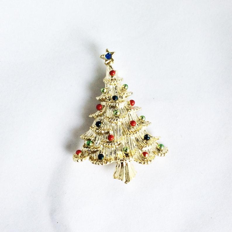 Christmas tree brooch Gerry's pin holiday brooch gold tone Christmas pin