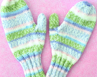 pastel floral plush fleece Adult mittens size: small to medium