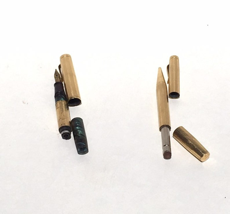 Vintage Gold Wahl Fountain Pen and Eversharp Mechanical Pencil Set circa 1925 18k Nib Cases are Gold Filled