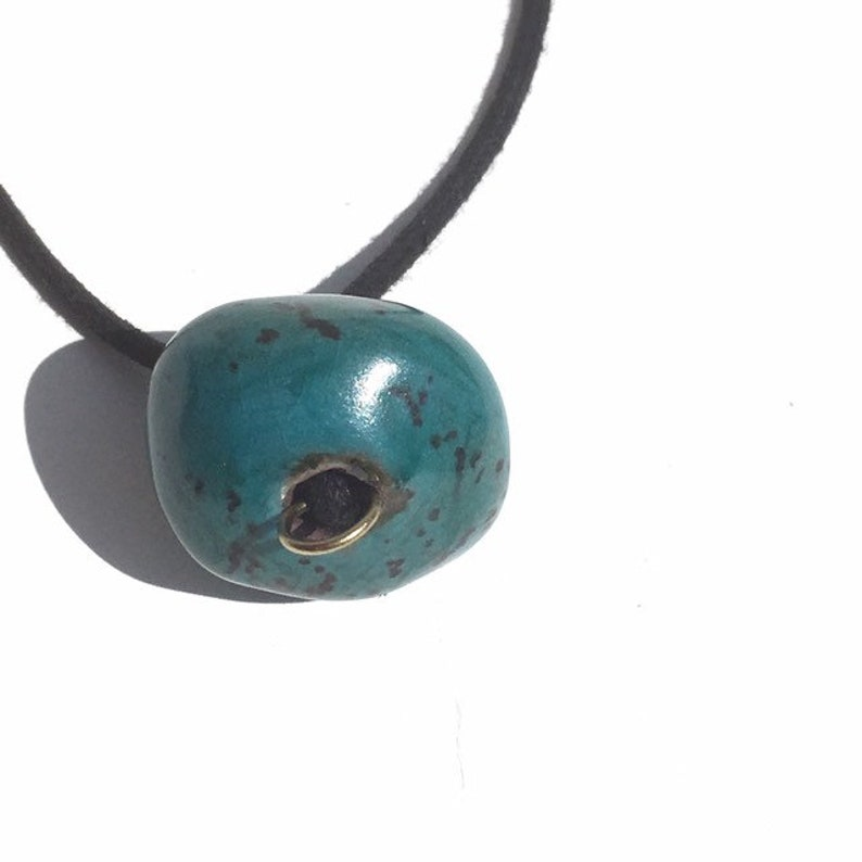Vintage Doyle Lane Hand Glazed Ceramic Bead on Waxed Cotton Cord  Necklace  Southern California Artist  Mid Century  Statement Jewelry