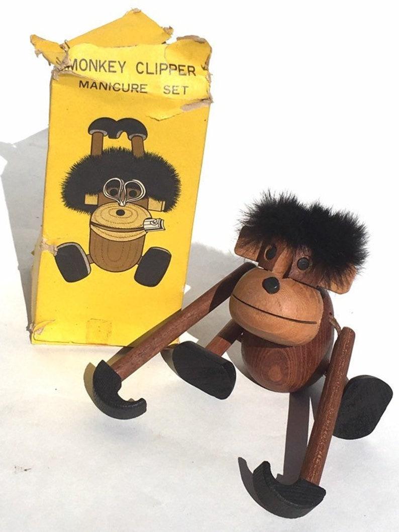 Vintage Teak Wood Monkey Clipper Manicure Set Kay Bojesen Style Mcm Mid Century Wood Toy Danish Modern Zoo Line Era 1960s Japan Original Box