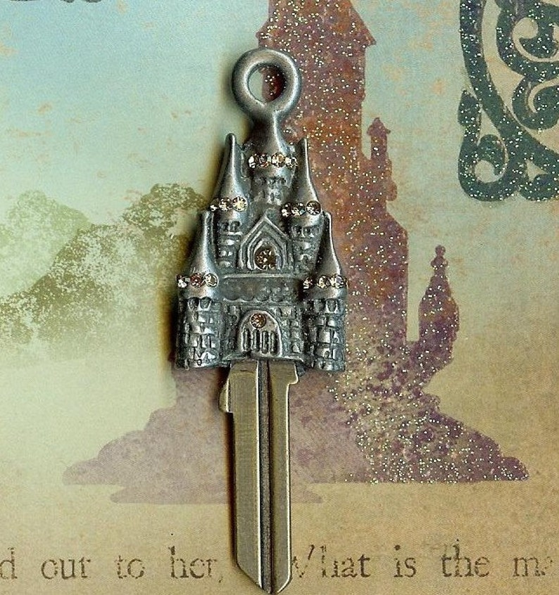 castle key...fairytale castle house key blank with swarovski image 0