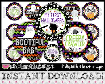 """Bootiful Baby - cute Halloween sayings - INSTANT DOWNLOAD 1"""" Bottle Cap Images 4x6 - 701"""
