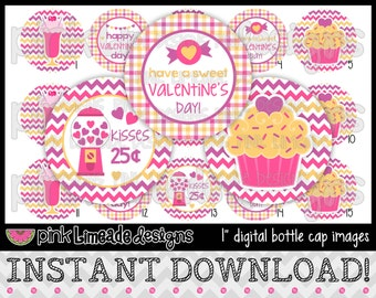 "Sweet Valentine's Day - INSTANT DOWNLOAD 1"" Bottle Cap Images 4x6 - 576"