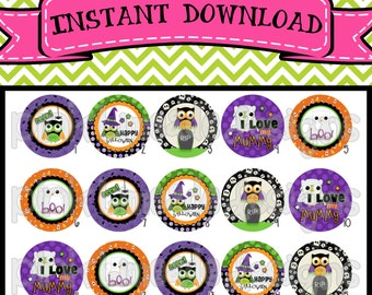 """Halloween Owls 1 - cute owls with Halloween sayings - INSTANT DOWNLOAD 1"""" Bottle Cap Images 4x6 - 236"""