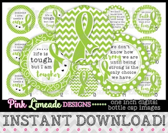 """Awareness Ribbons - Lime Green - INSTANT DOWNLOAD 1"""" Bottle Cap Images 4x6 - 950"""