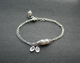 Pea Pod Bracelet, Mothers Day Gift, Mom Bracelet, Two Peas in a Pod, Initial Bracelet