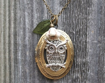 Owl Locket Necklace with Leaf and Flower