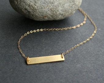 Gold bar necklace, Personalized gold bar, Name bar necklace, Horizontal bar necklace, Initial necklace, Nameplate necklace, Gold filled