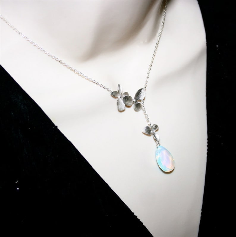 Orchid Trellis New Diamontrigue Jewelry: Opalite Moonstone With Silver Orchid Necklace Lariat