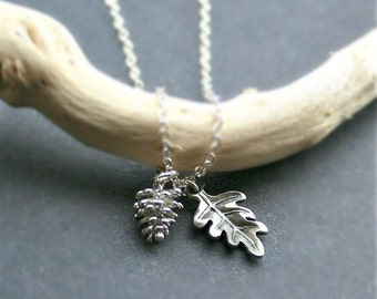 Silver Pine Cone Necklace, Oak Leaf Necklace. Pine Cone Jewelry, Sterling Silver. Gift