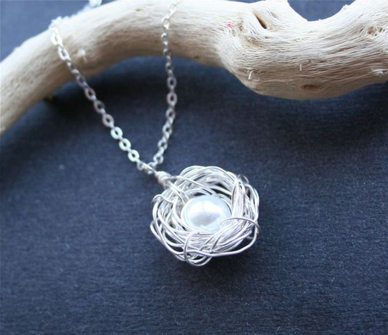 Nest Necklace One Egg Mothers Day Gift Mom Necklace Bird Nest Necklace Grandma Necklace