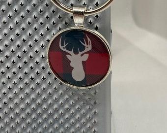 Buffalo Plaid Stag Keychain
