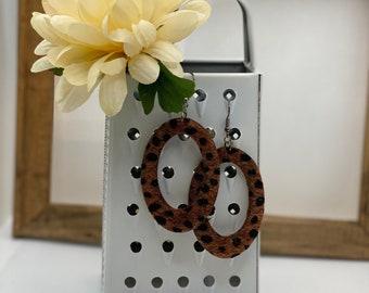 Brown Leopard Earring