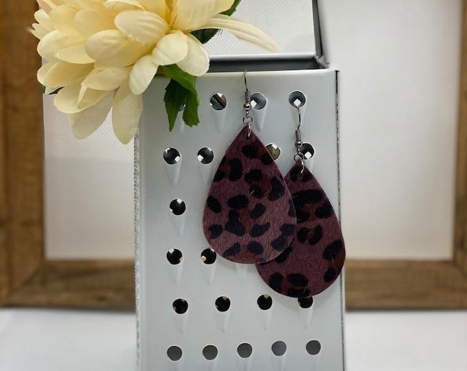 Purple Leopard Earring