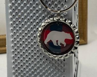 Buffalo Plaid Bear Keychain