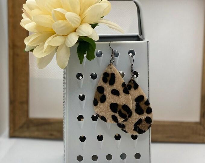 Tan Leopard Earring