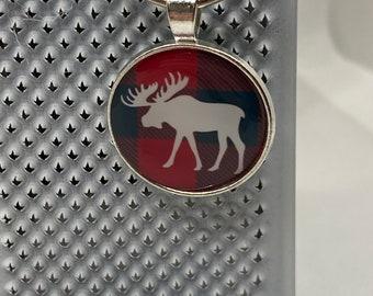 Buffalo Plaid Moose Keychain