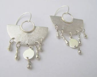 Handmade sterling silver large fan earrings. Dangle and drop earrings. Statement earrings.