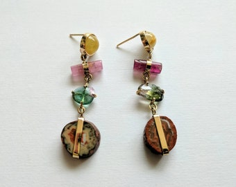 Gemstone sunset earrings. Handmade earrings with solid 14k gold, rumilated quartz, pink tourmaline, faceted multicolor tourmaline and agate.