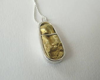 Handmade brass and sterling silver pendant. Teardrop shape. Statement necklace. Two tone metal necklace.