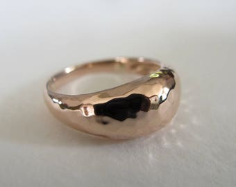 solid 14k rose gold hammered ring. Solid gold dome shaped ring.