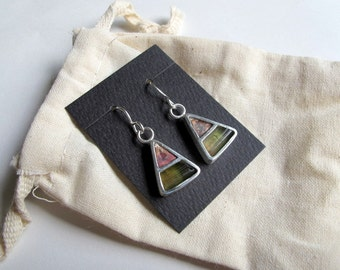 Sterling silver hook earrings with watermelon tourmaline and copper. Statement stonework earrings.