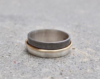 Handmade halo ring with oxidized band. Mens ring. Alternative wedding band. Unisex band.