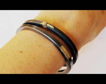 Handmade oxidized sterling silver bangles. Black and gold jewelry. Handmade bracelets. Modern design jewelry. Thick bracelet.