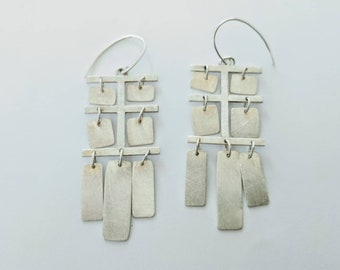 Handmade sterling silver earrings. Mobile earrings. Dangle and drop earrings. Statement earrings. Artisan jewelry.