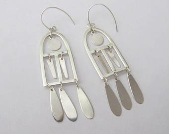 Handmade sterling silver window earrings. Statement earrings. Dangle and drop earrings. Mobile earrings.