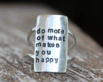 Own Your Statement Ring - Inspirational Personalized Quote Ring Personalized Boho Ring Inspirational Ring