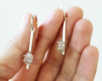 In Stock - Dancing in the Moonlight Earrings - Sterling Silver and Quartz Hoop Dangling Earrings