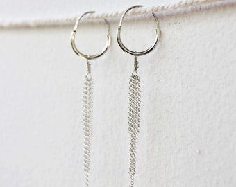 Meridian Hoop Earrings - Sterling Silver Dangling Hoop Earrings