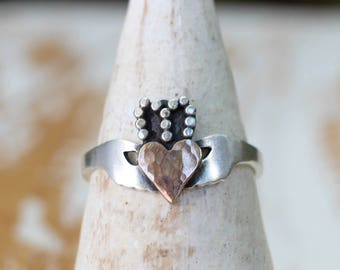 In Stock - Handcrafted Modern Claddagh Ring - Irish promise friendship ring - Claddagh Ring