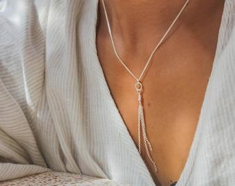Meridian Necklace - Dangling Tassel Sterling Silver Necklace Adjustable