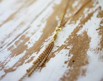 Gold Meridian Necklace - Dangling Tassel 18k Gold Vermeil Necklace Adjustable