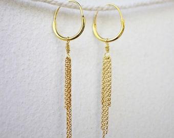 Gold Meridian Hoop Earrings - 18k Gold Vermeil Dangling Hoop Earrings