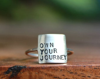Storybook Ring - Own Your Journey Ring Sterling Silver Personalized Inspirational Ring Inspirational Jewelry Quote Female Empowerment Women